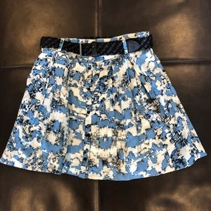 Blue and White Charlotte Ronson Belted Skirt
